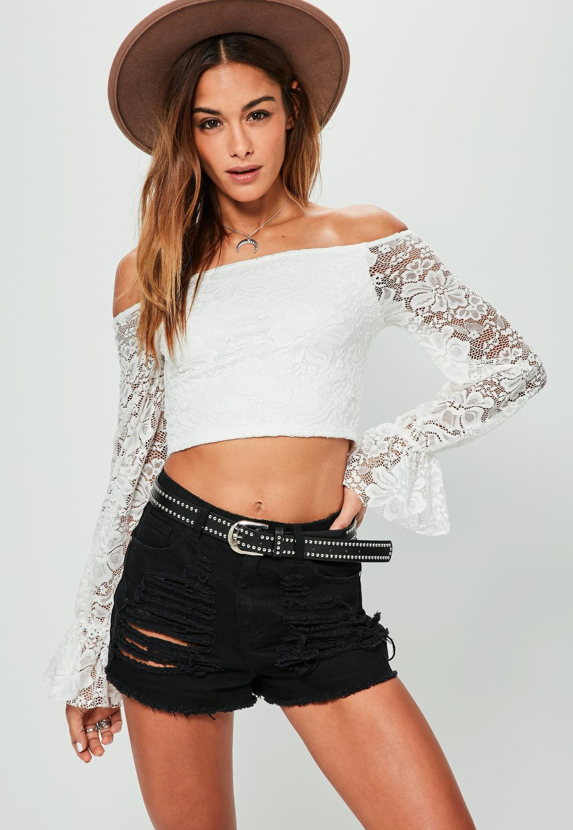 Cream Bardot Lace Crop Top | Missguided