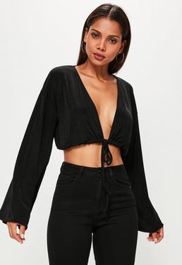 Black Drawstring Hem Blouson Sleeve Crop Top