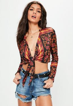 Black Printed Wrap Detail Long Sleeve Crop Top