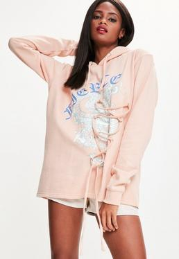 Pink Fierce Dragon Lace Up Detail Oversized Hoodie