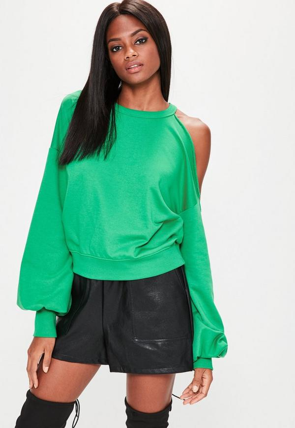Green Deconstructed Off Shoulder Sweatshirt
