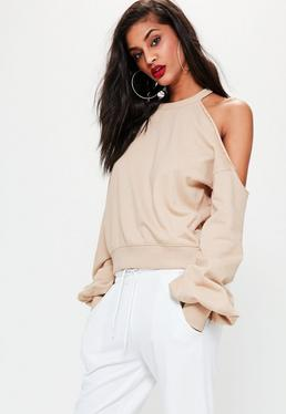 Nude Deconstructed Off Shoulder Sweatshirt