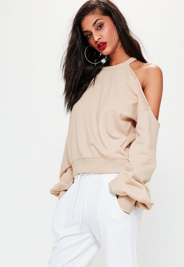 Nude Deconstructed Off Shoulder Sweatshirt
