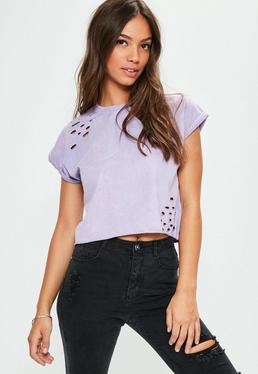 Purple Distressed Washed Cropped T-Shirt