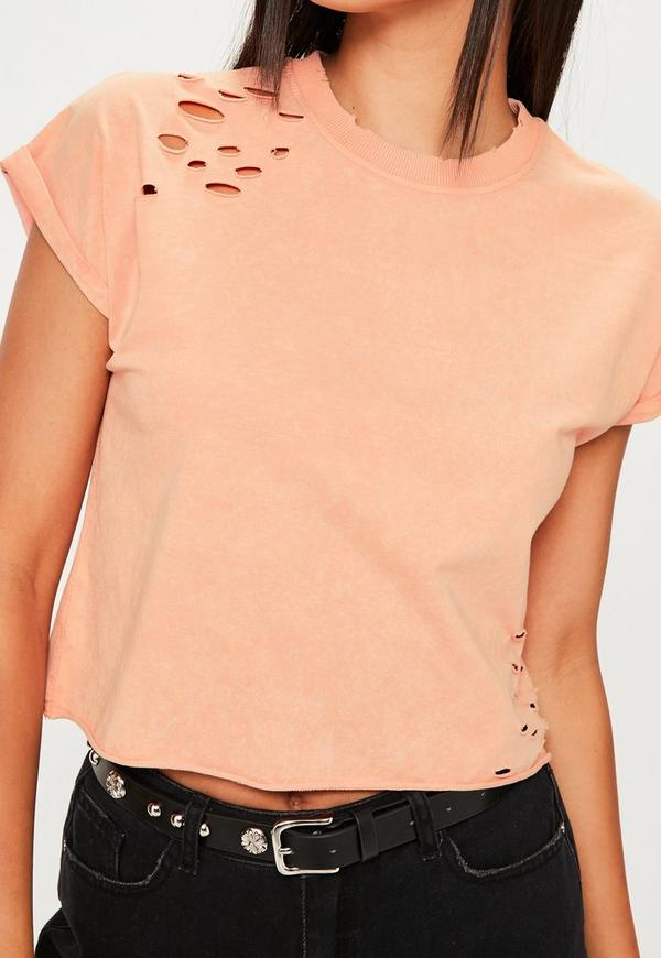 Pink washed distressed boxy t shirt missguided for How to make a distressed shirt