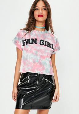 Różowy sprany t-shirt z nadrukiem Fan Girl