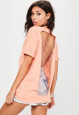 Pomarańczowy t-shirt z porwanymi plecami