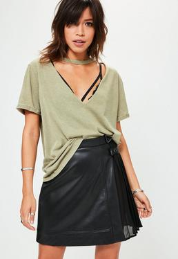 Khaki Burnout Choker Detail T-Shirt
