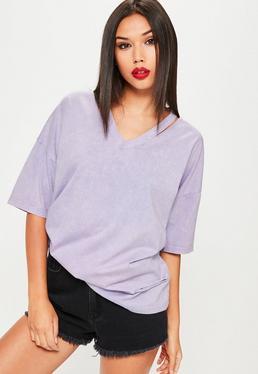 T-shirt violet délavé oversize col décousu