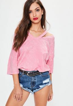 T-shirt oversize rose délavé déconstruit
