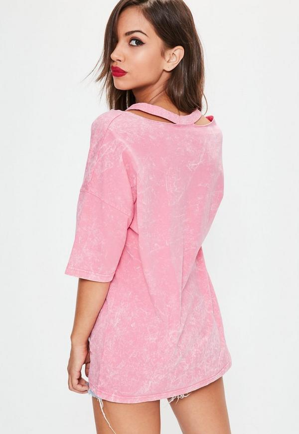Pink Washed Deconstructed Oversized T-Shirt - Missguided