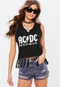 Black ACDC Fringe Graphic Vest Top