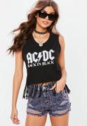 Czarna bluzka na ramiączkach z nadrukiem ACDC i frędzlami