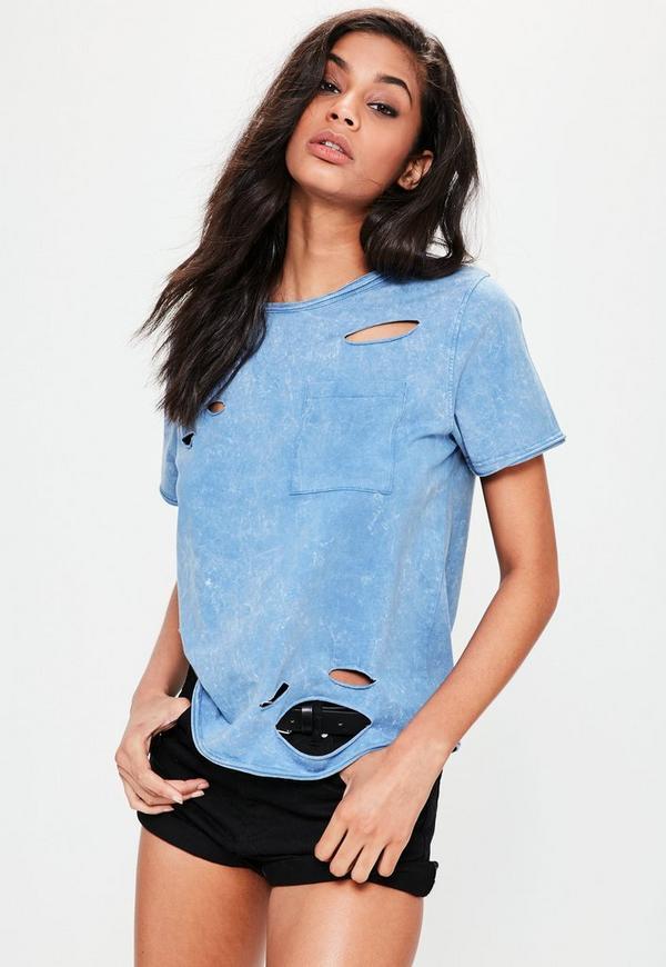 Blue Washed Distressed Pocket T-Shirt
