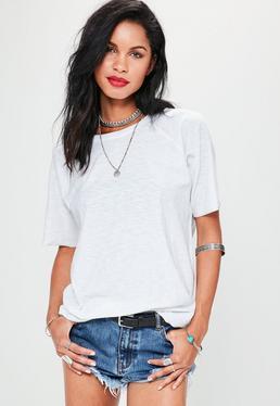Lässiges Struktur-T-Shirt in Weiß