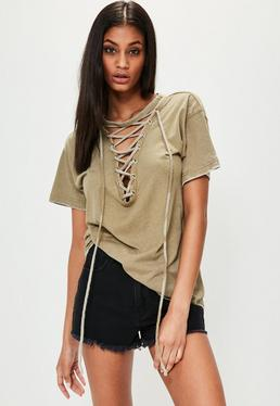 Khaki LACE UP FRONT BURNOUT T-SHIRT