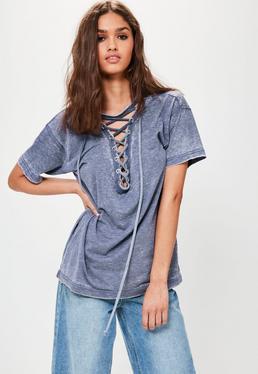 T-shirt bleu délavé oversize à lacets