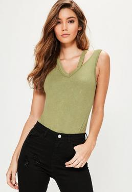 Khaki Washed Deconstructed Neck Bodysuit