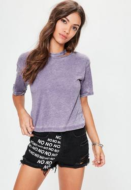 Purple Deconstructed Nibble Neck Washed T- Shirt