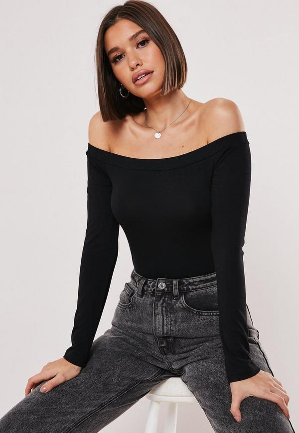 Black Bardot Long Sleeve Bodysuit