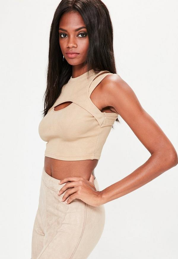 Nude Washed Overlay Ribbed Crop Top