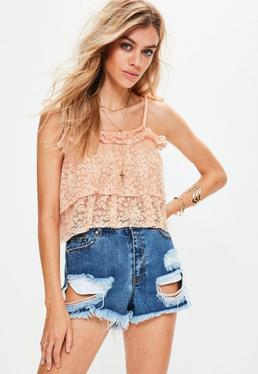 Nude Pleated Lace Cami Crop Top
