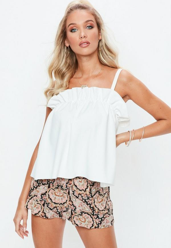 White Gathered Cami Vest Top