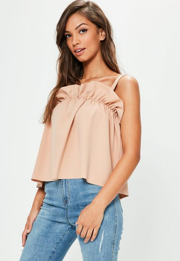 Nude Gathered Cami Vest Top