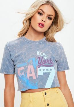 Blue Washed Pastel Graphic Cropped T-Shirt