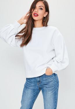 Pullover mit Ballon-Ärmeln in Weiß