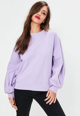 Purple Exaggerated Sleeve Sweatshirt