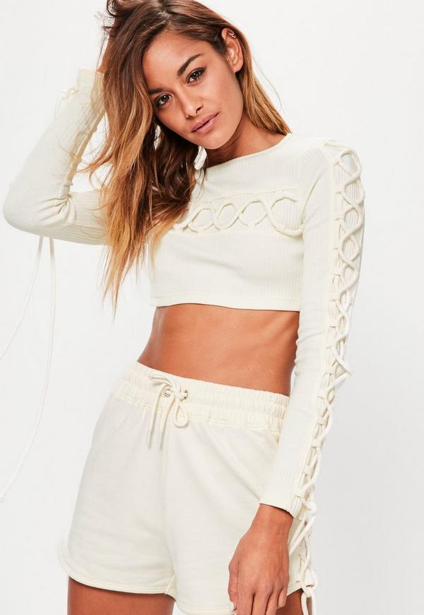 Cream Lace Up Detail Crop Top