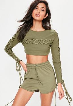 Khaki Lace Up Detail Crop Top