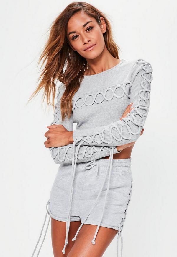 Grey Lace Up Detail Crop Top