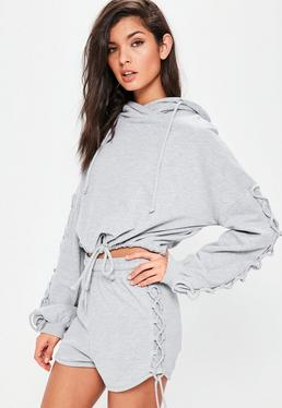 Grey Lace Up Sleeve Detail Cropped Hoodie