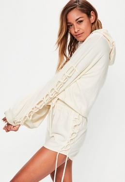 Cream Lace Up Sleeve Detail Cropped Hoodie