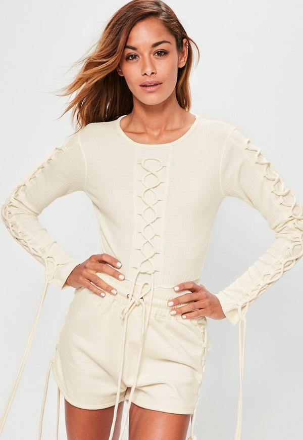 Cream Lace Up Detail Ribbed Bodysuit