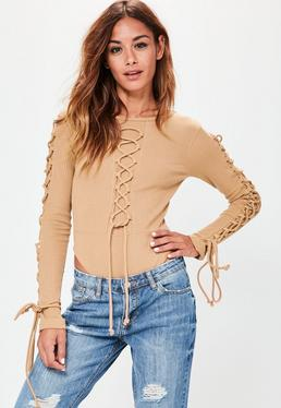 Camel Lace Up Detail Ribbed Bodysuit