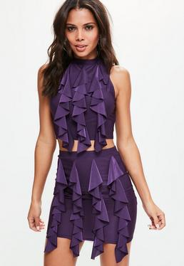 Purple Frilled Front Crop Top