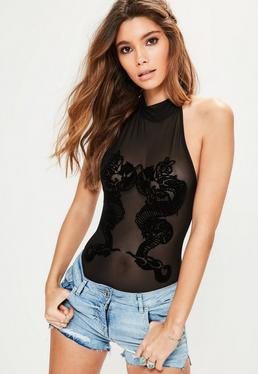 Body noir en tulle imprimé velours dragon