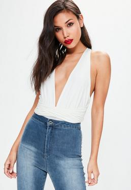 Cream Wrap Detail Halter Neck Bodysuit