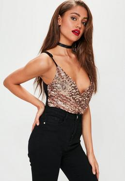 Rose Gold Wrap Front Sequin Bodysuit