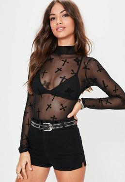 Black Cross Detail Mesh Long Sleeve Bodysuit