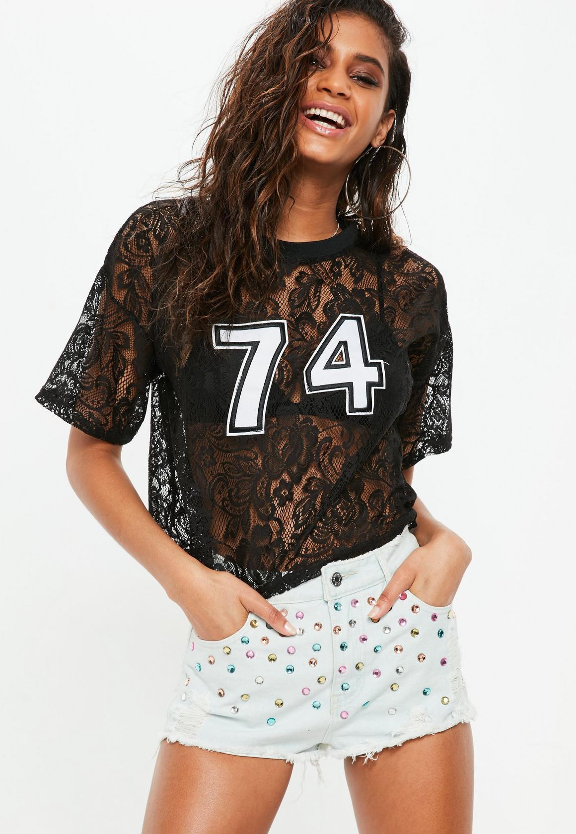 Black t shirt with lace - Black Lace Graphic T Shirt