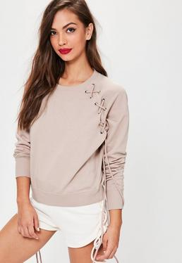 Pink Lace Up Eyelet Detail Raglan Sweatshirt