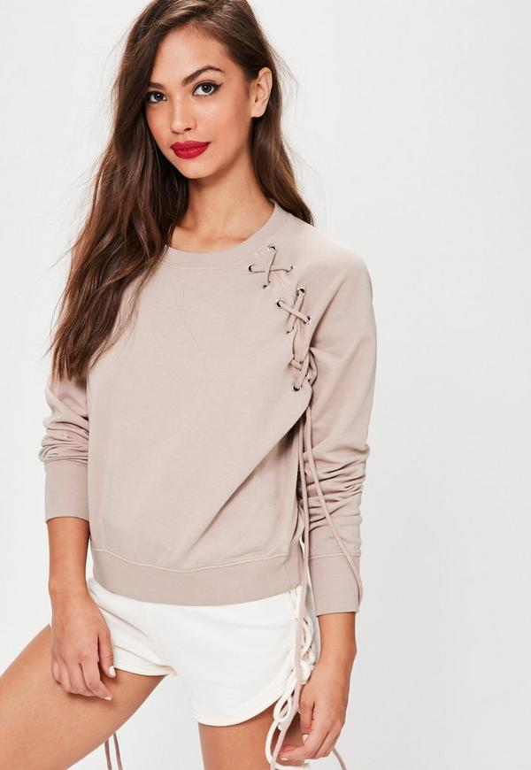 Pink Lace Up Eyelet Detail Raglan Sweatshirt