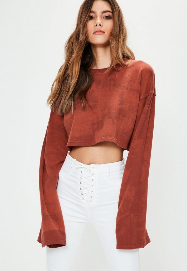 Red Tie Dye Washed Cropped Sweatshirt