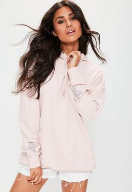 Pink Oversized Embroidered Sleeve Detail Hoodie