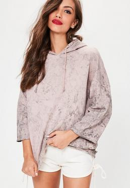 Nude Oversized Washed Pocket Detail Hoodie