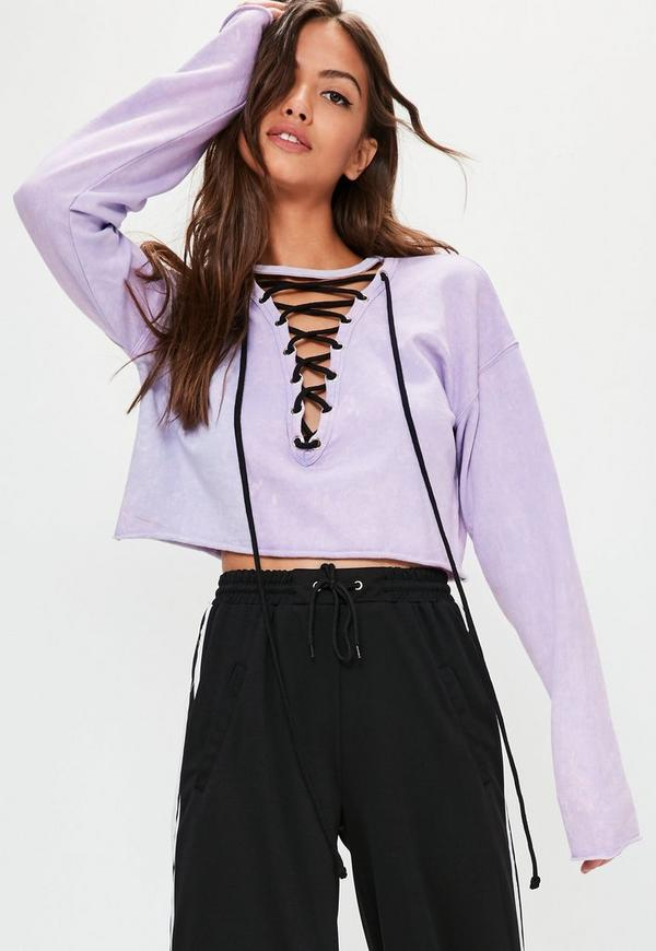 Purple Lace Up Washed Cropped Sweatshirt